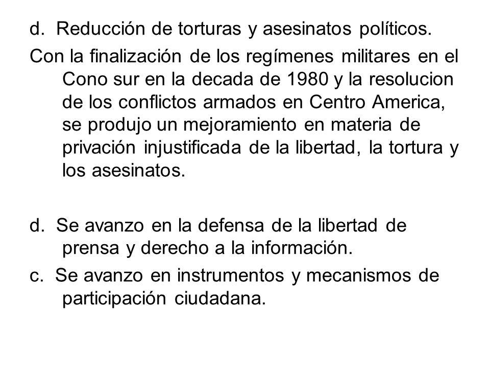 d. Reducción de torturas y asesinatos políticos.