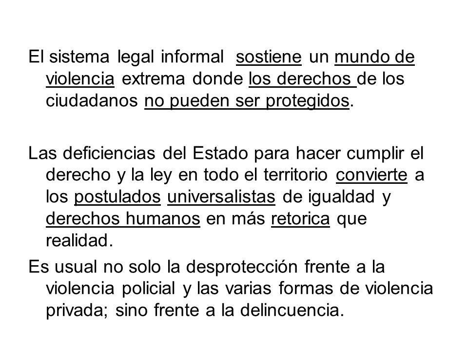 El sistema legal informal sostiene un mundo de violencia extrema donde los derechos de los ciudadanos no pueden ser protegidos.