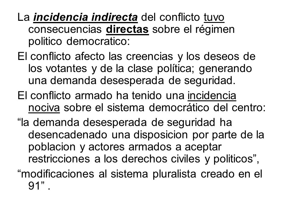 La incidencia indirecta del conflicto tuvo consecuencias directas sobre el régimen politico democratico: