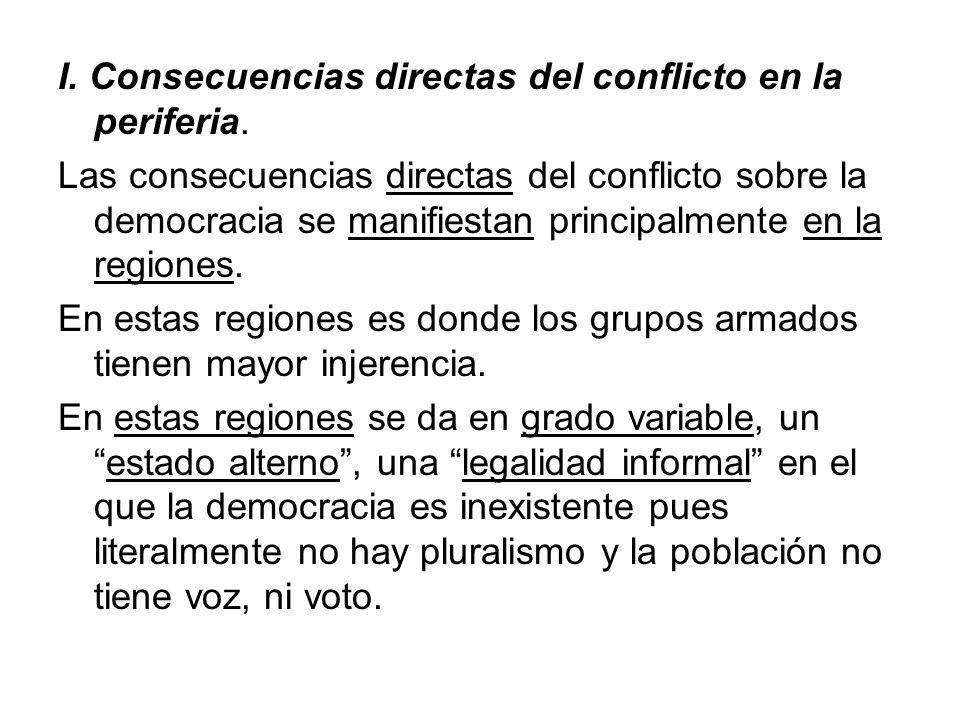 I. Consecuencias directas del conflicto en la periferia.