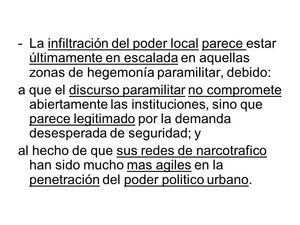 La infiltración del poder local parece estar últimamente en escalada en aquellas zonas de hegemonía paramilitar, debido: