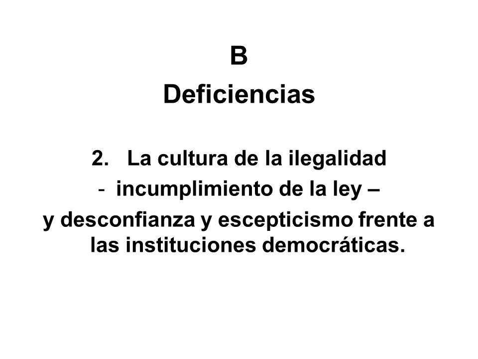 B Deficiencias 2. La cultura de la ilegalidad