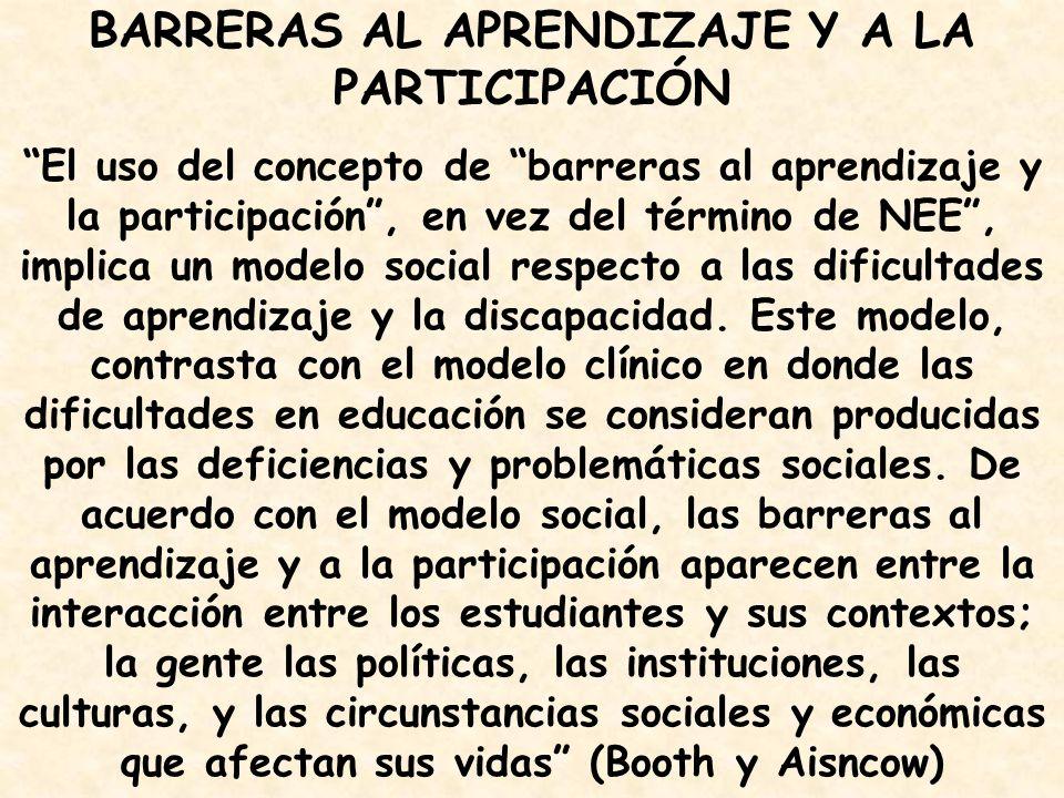 BARRERAS AL APRENDIZAJE Y A LA PARTICIPACIÓN