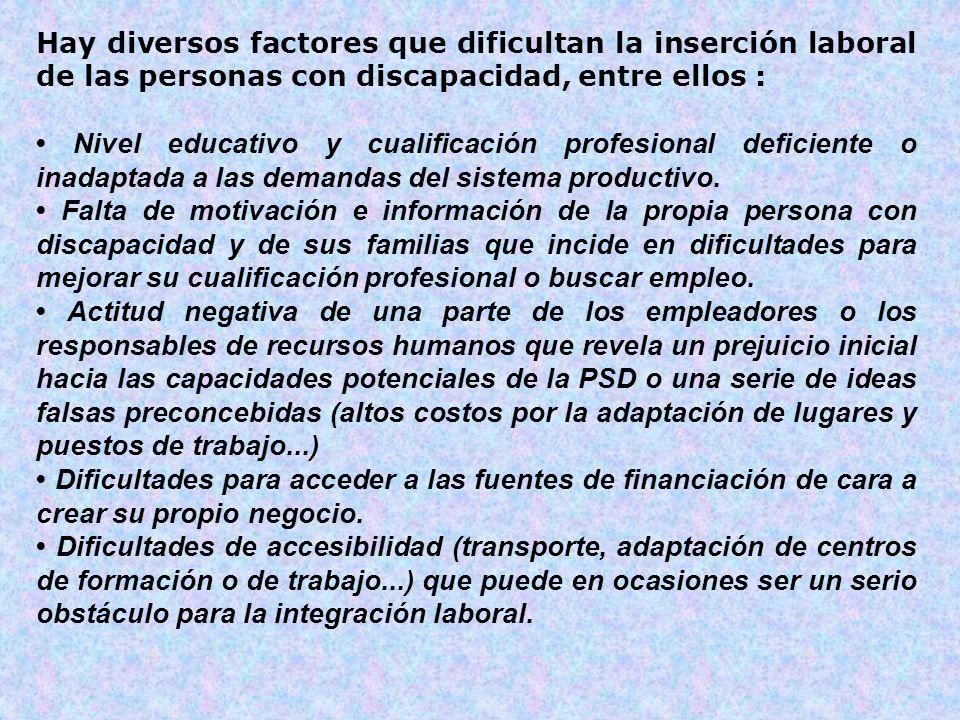 Hay diversos factores que dificultan la inserción laboral de las personas con discapacidad, entre ellos :