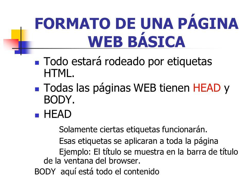 FORMATO DE UNA PÁGINA WEB BÁSICA
