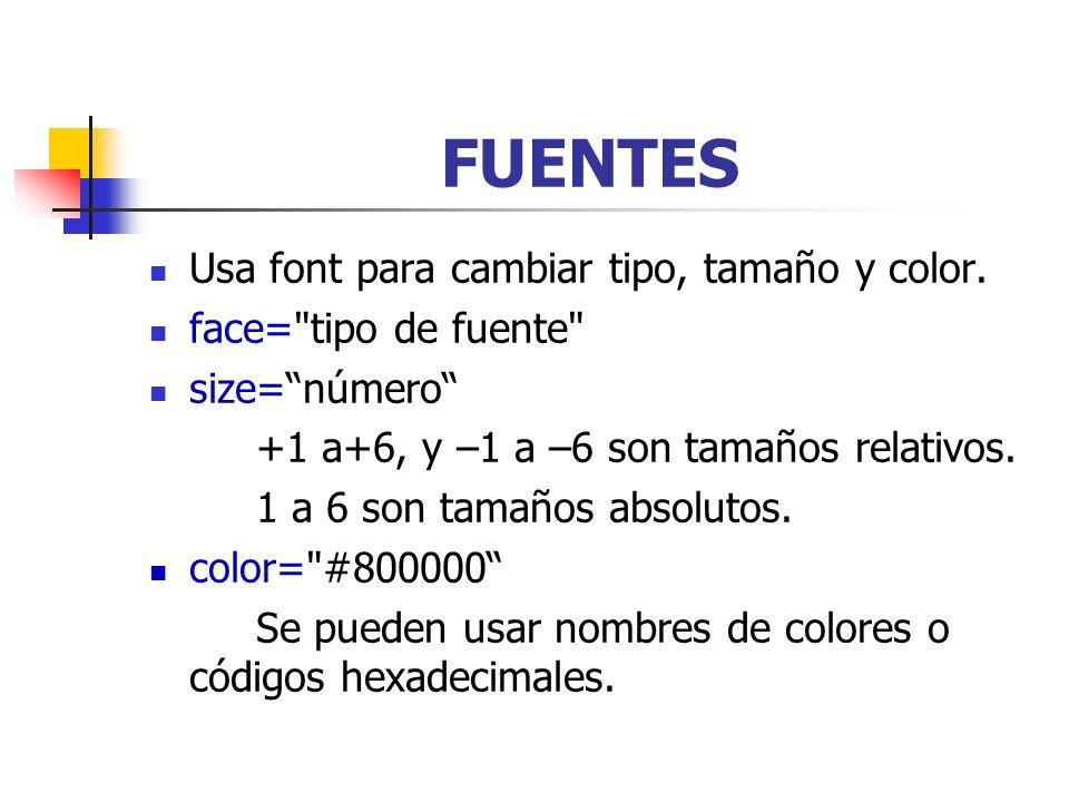 FUENTES Usa font para cambiar tipo, tamaño y color.