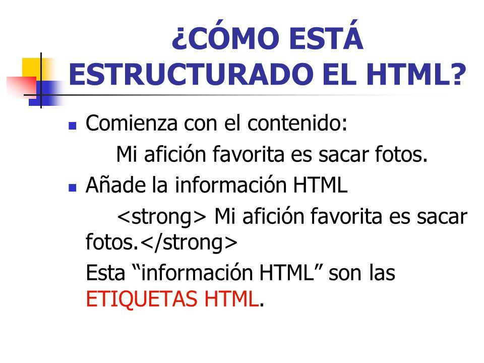 ¿CÓMO ESTÁ ESTRUCTURADO EL HTML
