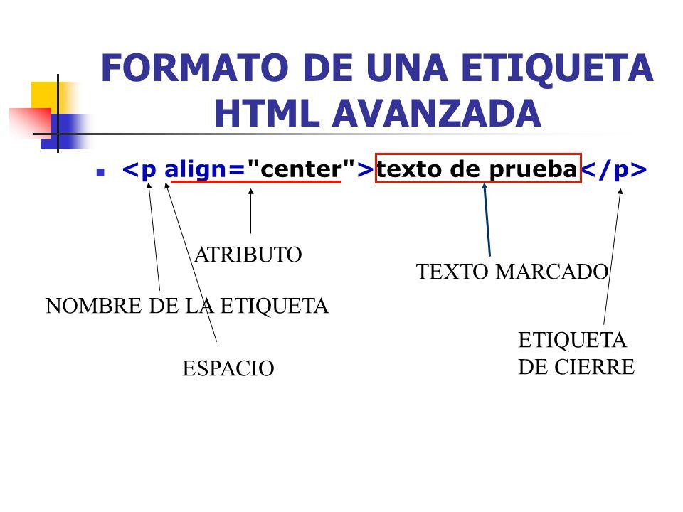FORMATO DE UNA ETIQUETA HTML AVANZADA