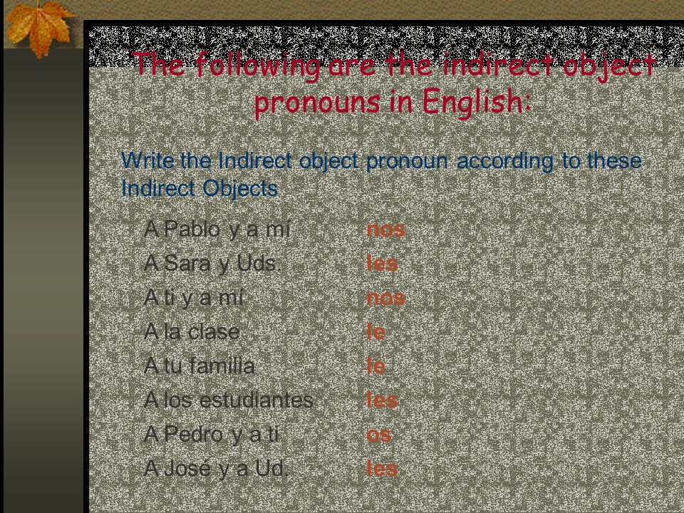 The following are the indirect object pronouns in English: