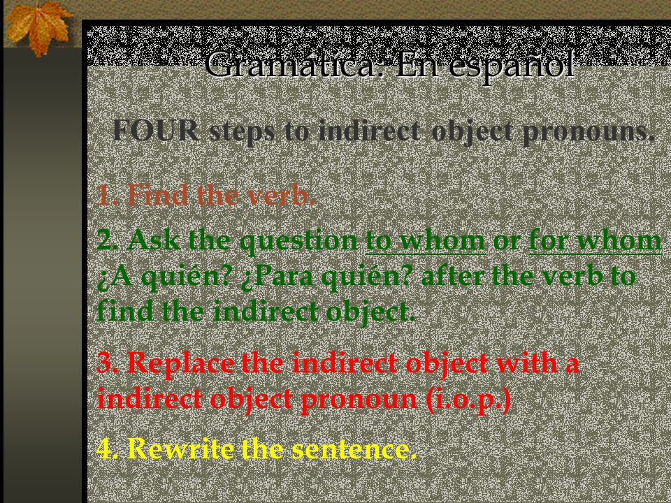 FOUR steps to indirect object pronouns.