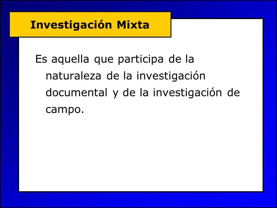 Investigación Mixta Es aquella que participa de la naturaleza de la investigación documental y de la investigación de campo.