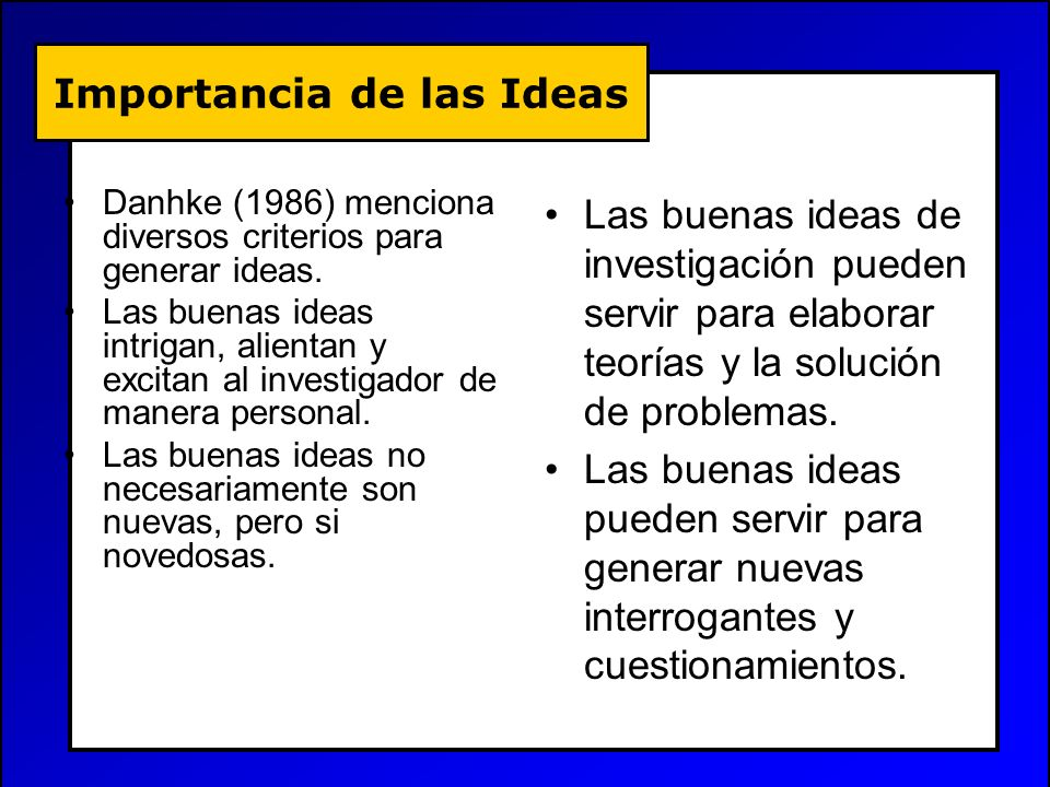 Importancia de las Ideas