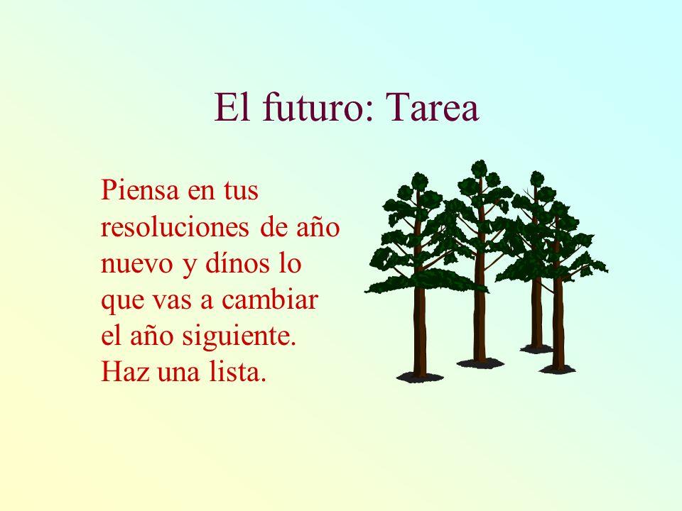 El futuro: TareaPiensa en tus resoluciones de año nuevo y dínos lo que vas a cambiar el año siguiente.