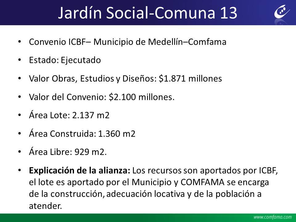 Jardín Social-Comuna 13 Convenio ICBF– Municipio de Medellín–Comfama