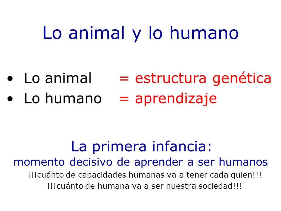 Lo animal y lo humano La primera infancia: