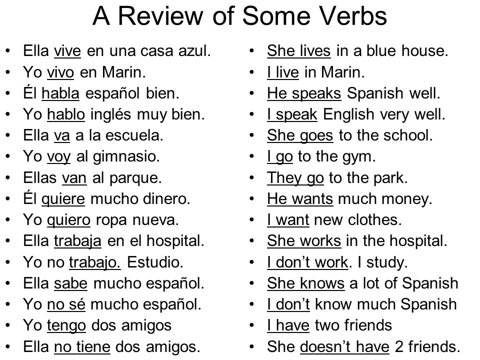 A Review of Some Verbs Ella vive en una casa azul. Yo vivo en Marin.