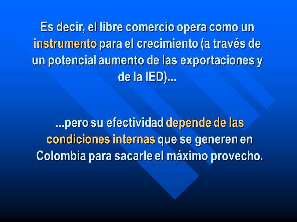 Es decir, el libre comercio opera como un instrumento para el crecimiento (a través de un potencial aumento de las exportaciones y de la IED)...