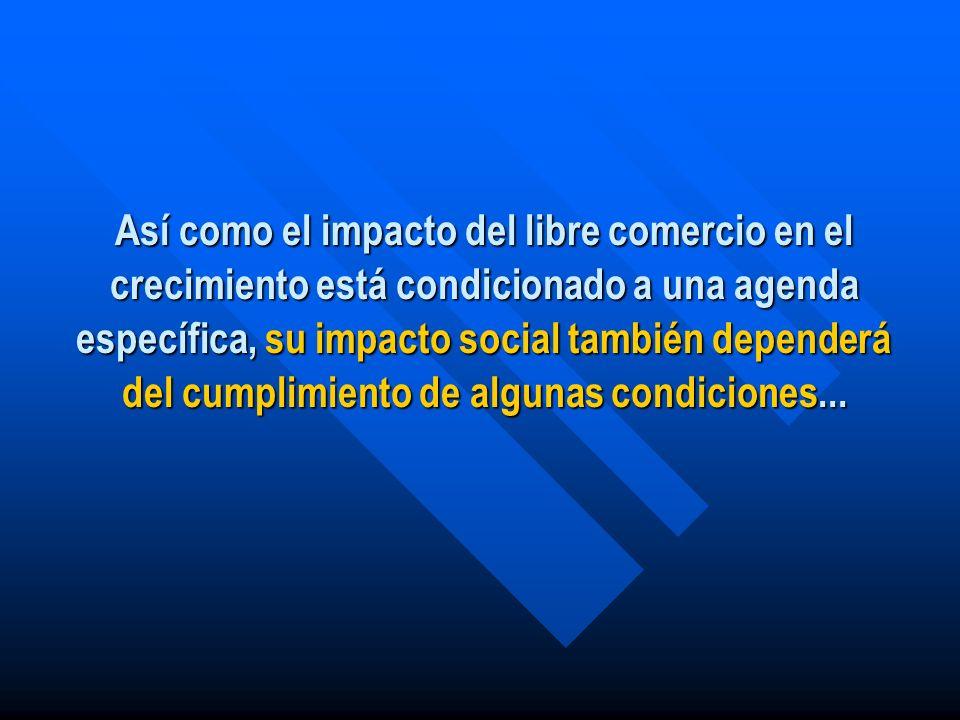 Así como el impacto del libre comercio en el crecimiento está condicionado a una agenda específica, su impacto social también dependerá del cumplimiento de algunas condiciones...