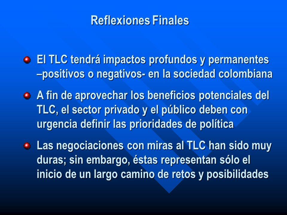 Reflexiones Finales El TLC tendrá impactos profundos y permanentes –positivos o negativos- en la sociedad colombiana.