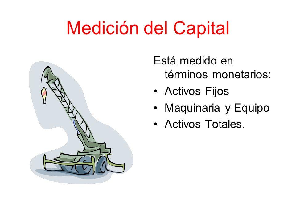 Medición del Capital Está medido en términos monetarios: Activos Fijos