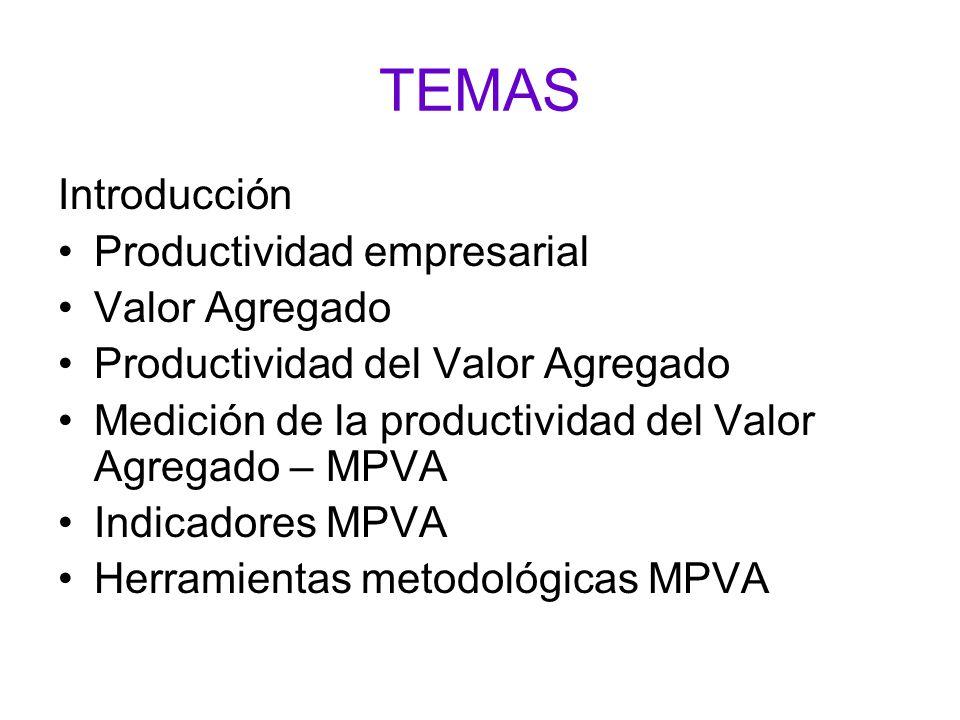 TEMAS Introducción Productividad empresarial Valor Agregado
