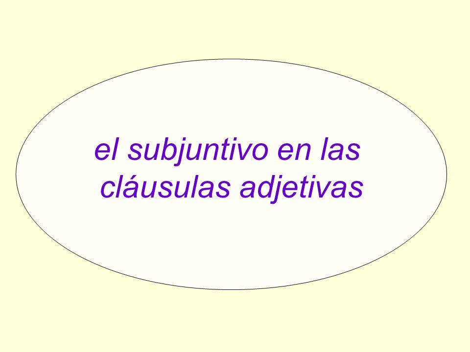 el subjuntivo en las cláusulas adjetivas el subjuntivo en las