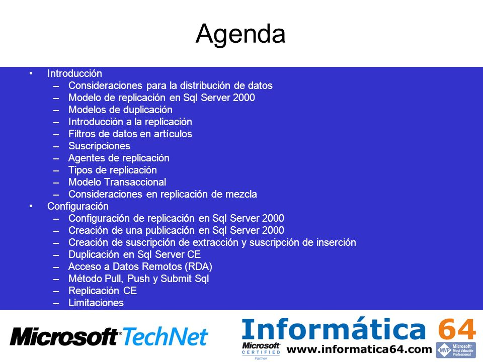Agenda Introducción Consideraciones para la distribución de datos