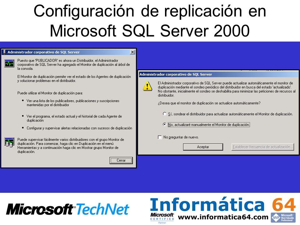 Configuración de replicación en Microsoft SQL Server 2000