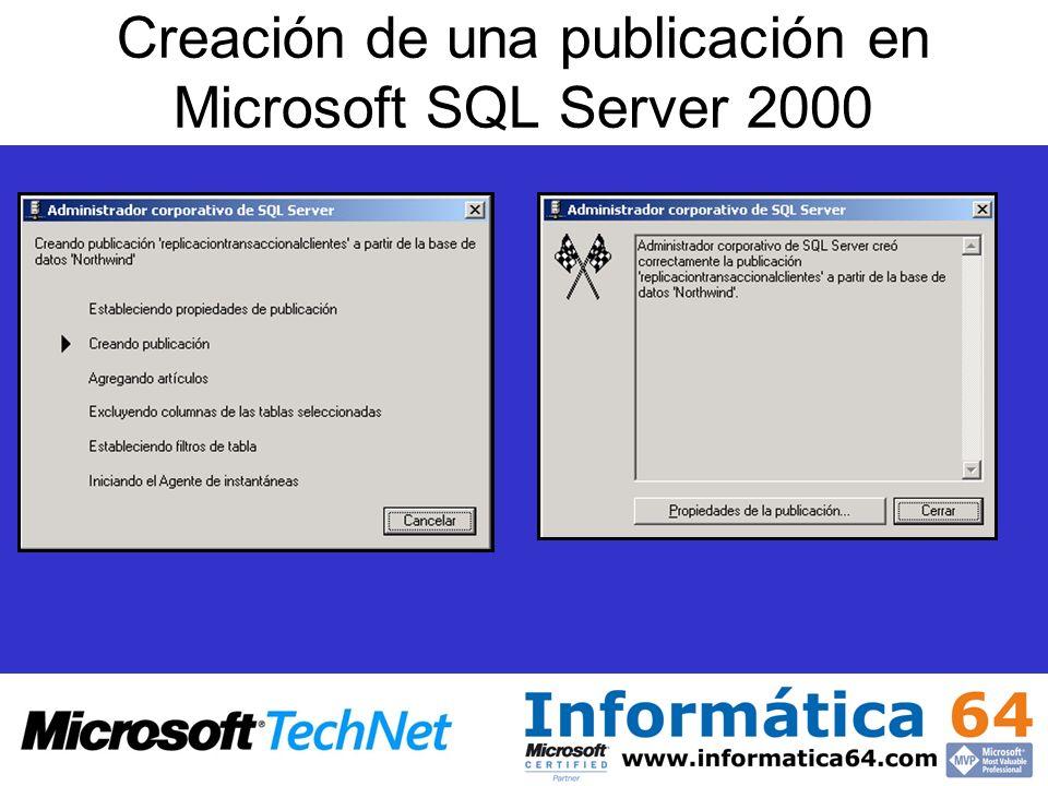 Creación de una publicación en Microsoft SQL Server 2000