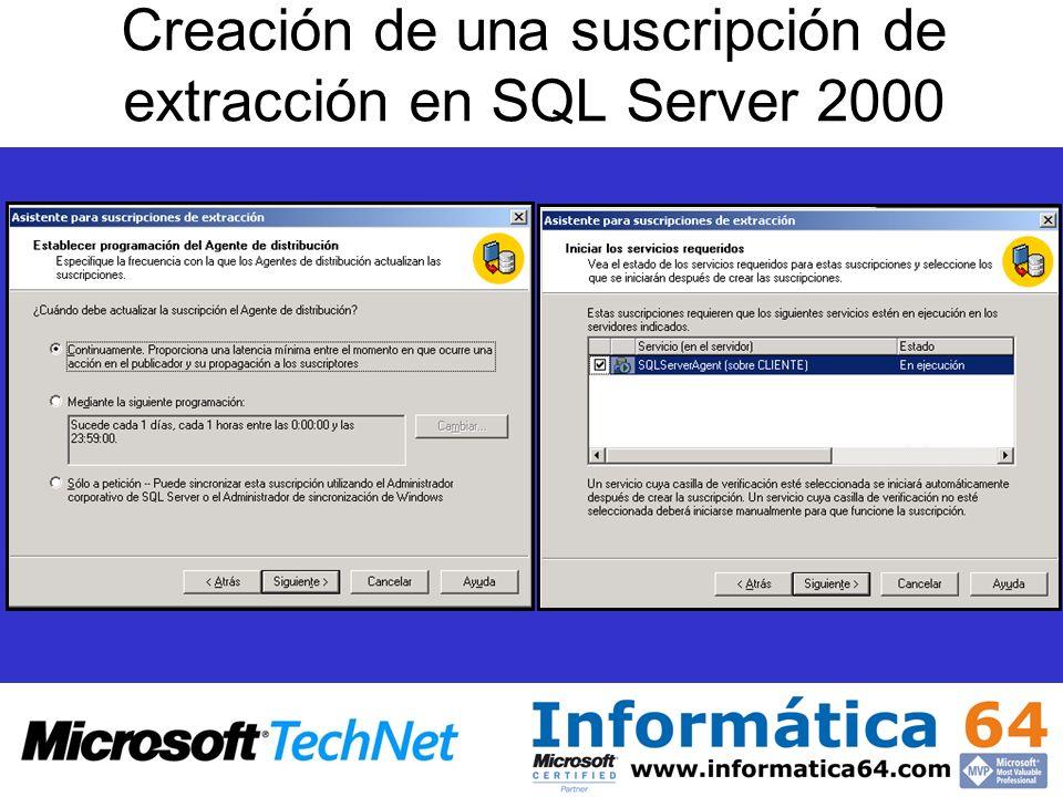 Creación de una suscripción de extracción en SQL Server 2000