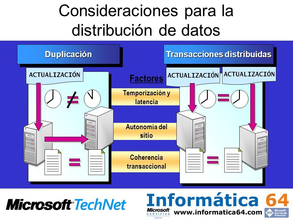 Consideraciones para la distribución de datos