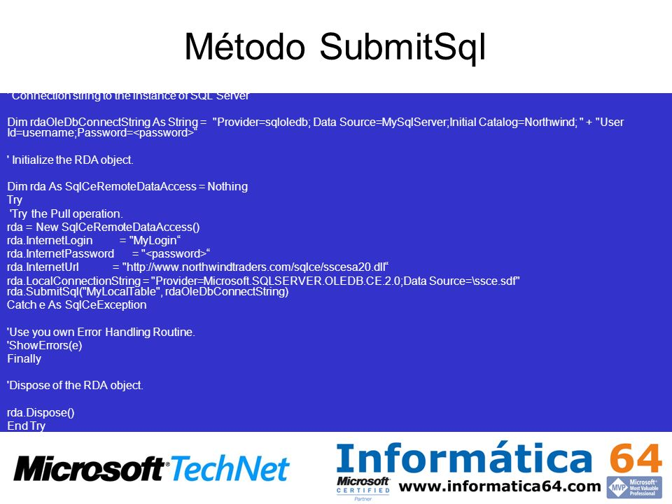 Método SubmitSql Connection string to the instance of SQL Server