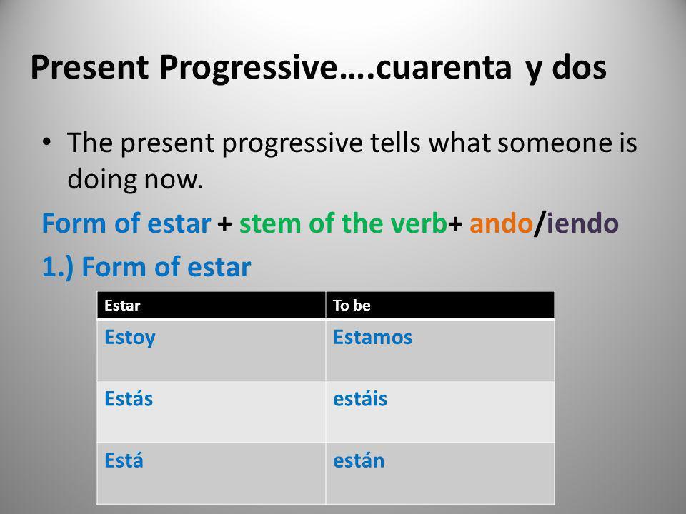 Present Progressive….cuarenta y dos