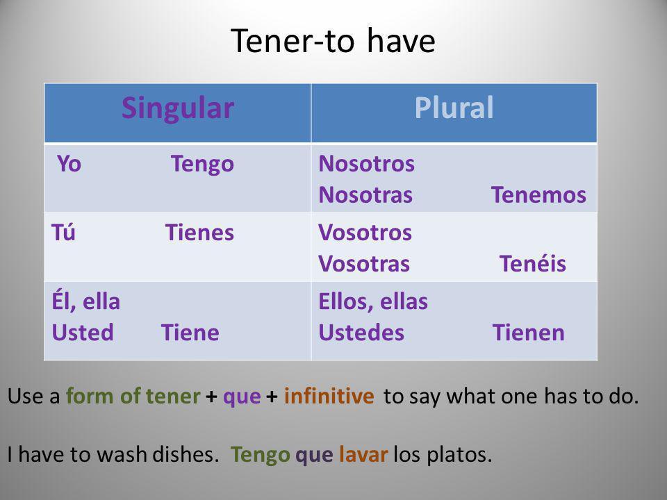 Tener-to have Singular Plural Yo Tengo Nosotros Nosotras Tenemos