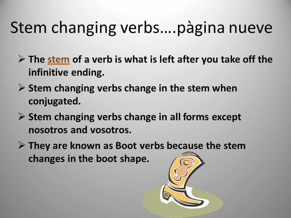Stem changing verbs….pàgina nueve