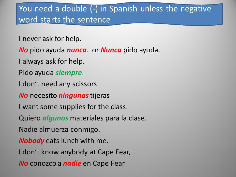 You need a double (-) in Spanish unless the negative word starts the sentence.
