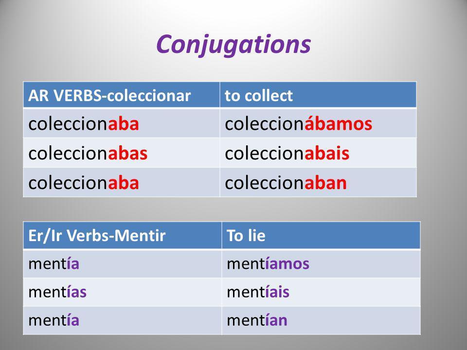 Conjugations coleccionaba coleccionábamos coleccionabas coleccionabais