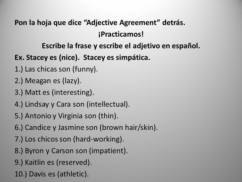 Pon la hoja que dice Adjective Agreement detrás. ¡Practicamos