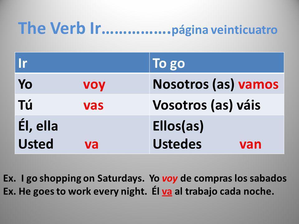 The Verb Ir…………….página veinticuatro