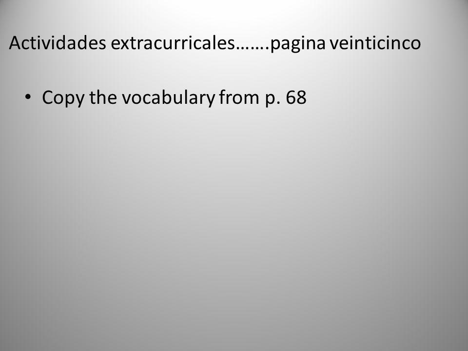 Actividades extracurricales…….pagina veinticinco