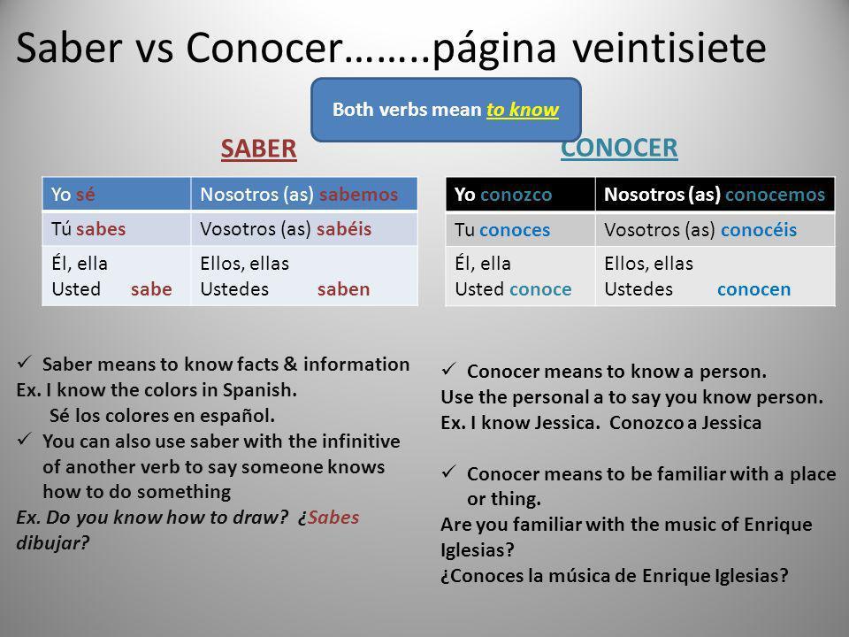 Saber vs Conocer……..página veintisiete