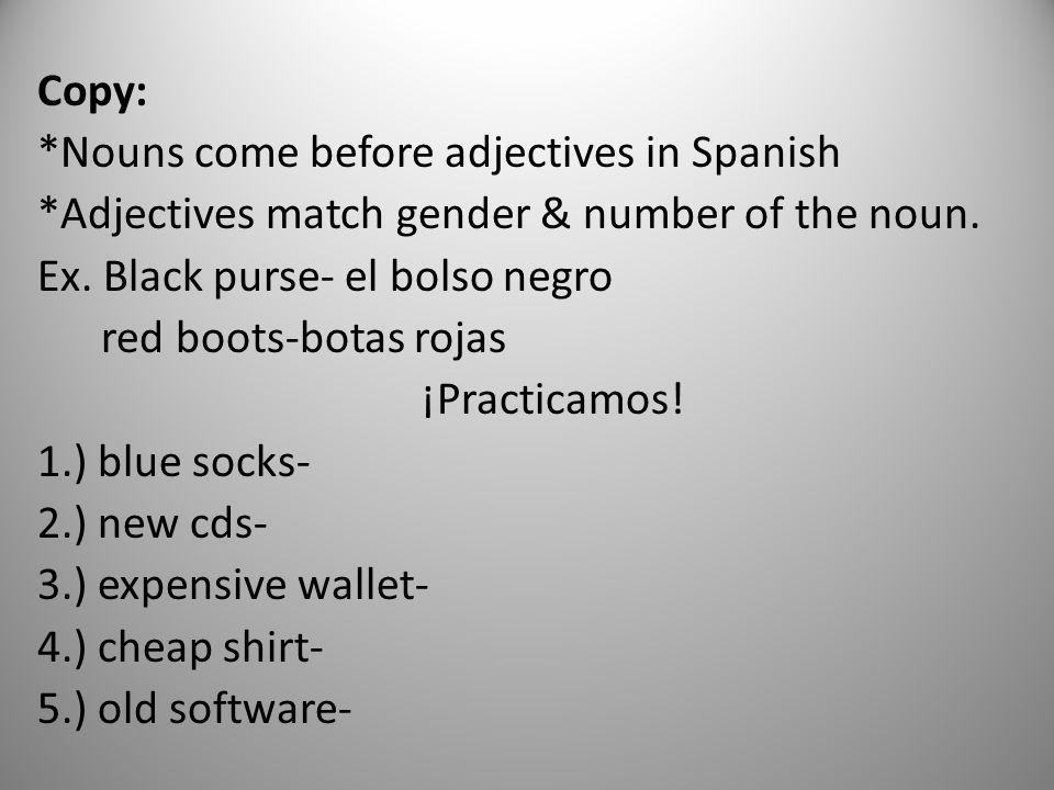 Copy:. Nouns come before adjectives in Spanish