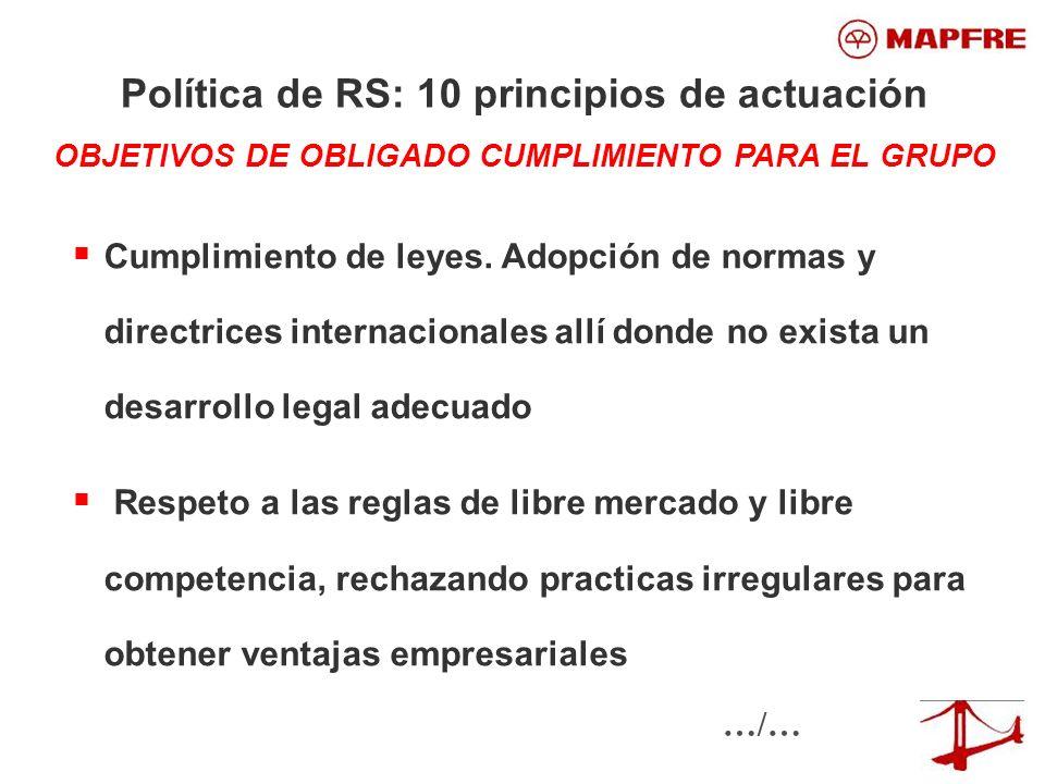Política de RS: 10 principios de actuación