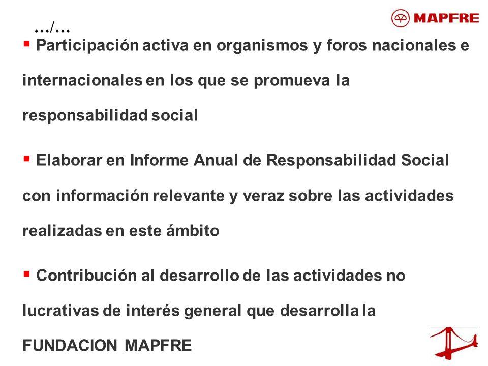 …/… Participación activa en organismos y foros nacionales e internacionales en los que se promueva la responsabilidad social.