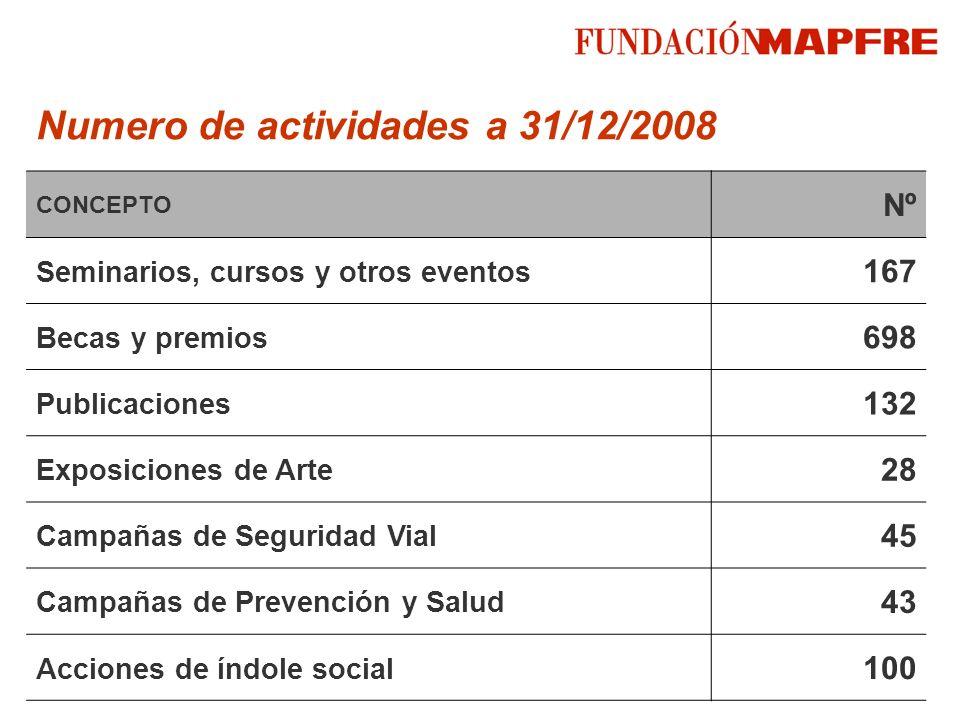 Numero de actividades a 31/12/2008