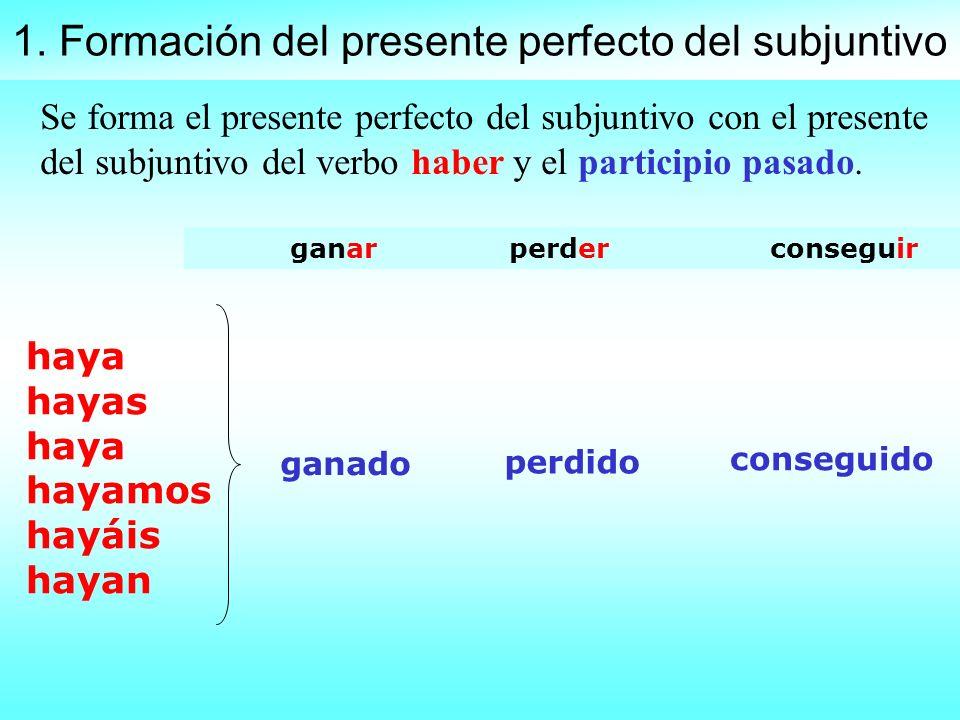 1. Formación del presente perfecto del subjuntivo