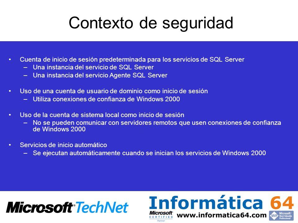 Contexto de seguridad Cuenta de inicio de sesión predeterminada para los servicios de SQL Server. Una instancia del servicio de SQL Server.