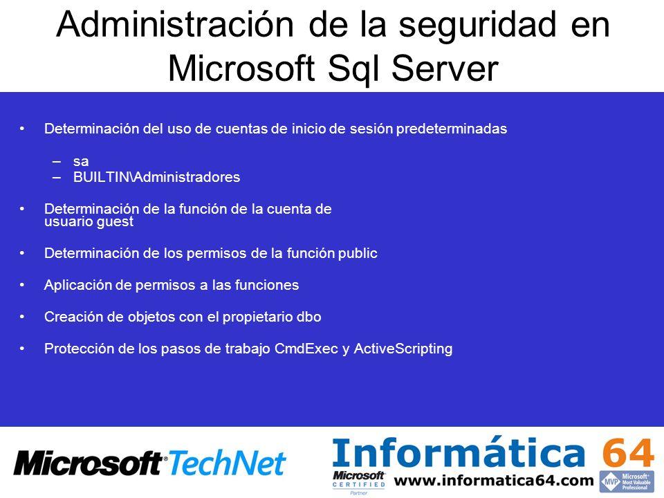 Administración de la seguridad en Microsoft Sql Server