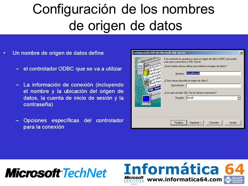 Configuración de los nombres de origen de datos