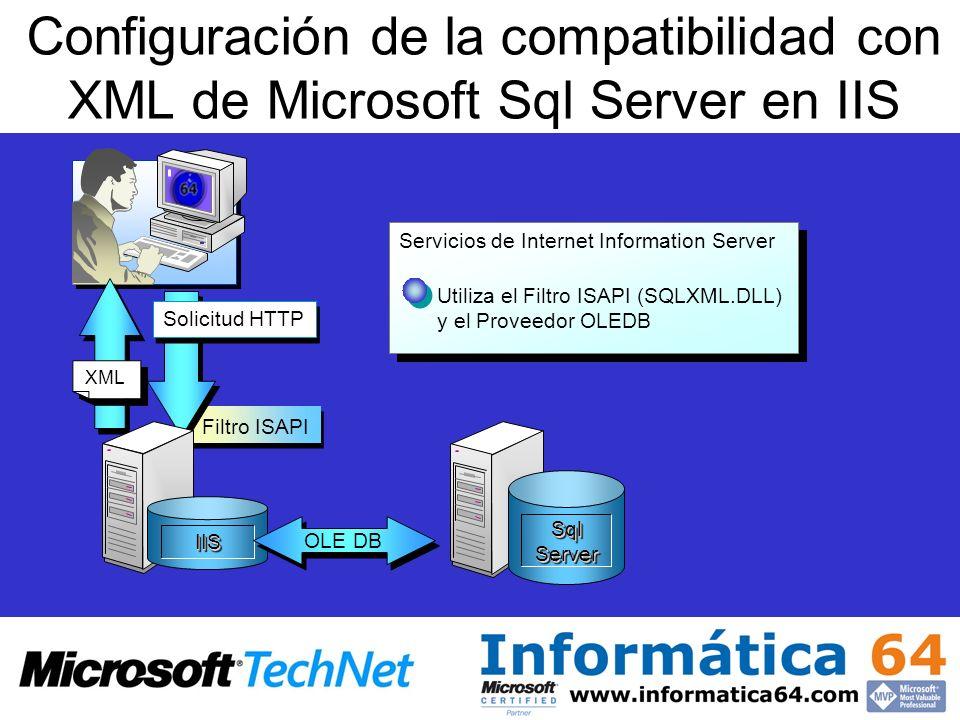 Configuración de la compatibilidad con XML de Microsoft Sql Server en IIS